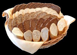 Brotkorb mit verschiedenen Brotsorten, Baguette, Brötchen...