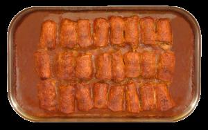Hackfleischröllchen - herzhafte Karreescheiben, gefüllt mit Hackfleisch in Barbecue-Zwiebel-Soße