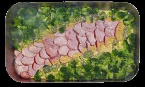 Kasselerrücken auf Brokkoli mit Honig-Senf-Sauce