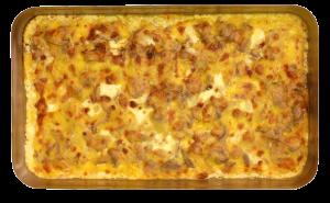 Lendchenpfanne - Schweinelendchen, Pilze, Gewürze, mit Käse überbacken